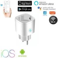 Tuya     prise WiFi connectee Smart Life  ue  16a  moniteur dalimentation  commande vocale a distance  pour maison connectee  avec Assistance Alexa Google