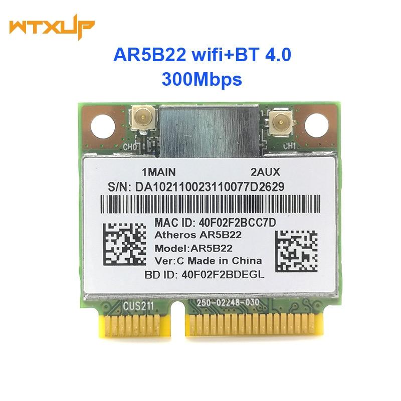 Doble banda 2,4G/5G Atheros AR5B22 AR9462 300Mbps media Mini PCIE WiFi + BT 4,0 Bluetooth 4,0 WIFI adaptador de red