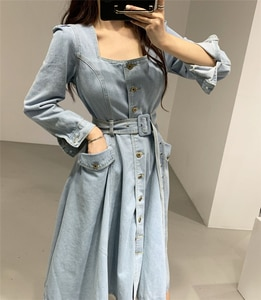Women Denim Dresses Spring Autumn Mid-Calf Casual Sashes Square Collar Single Breasted Pockets Dress DR7276