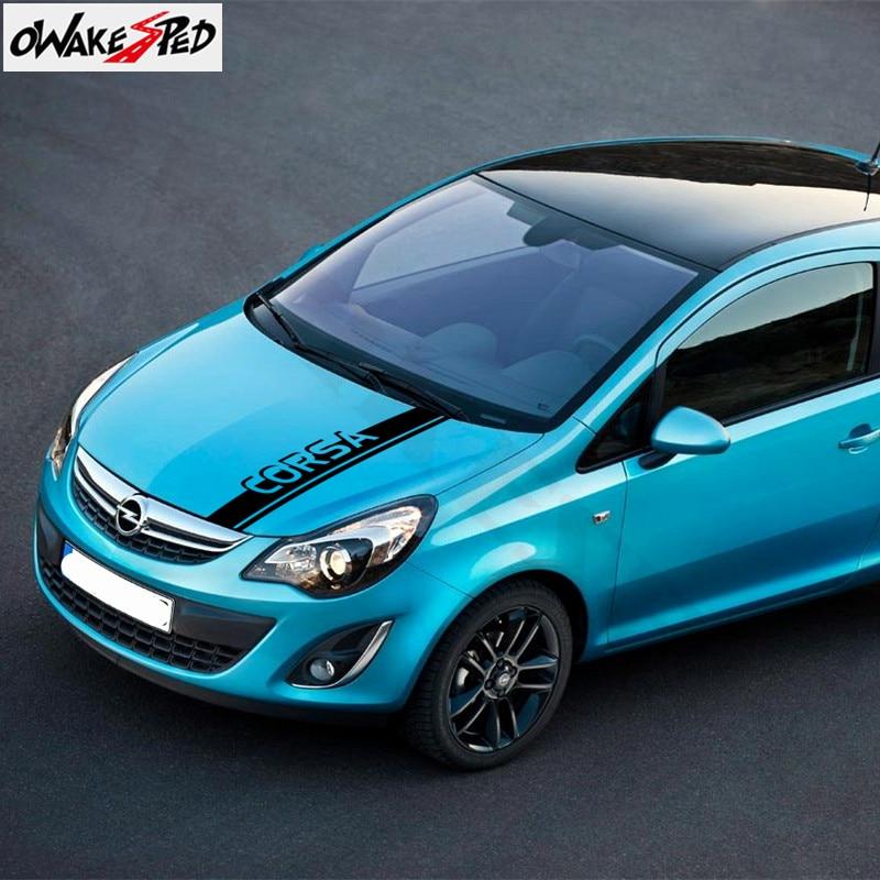 Car Hood Decor Sticker For Opel Corsa c e d Auto Engine Cover Bonnet Vinyl Decals Sport Stripes Styling Stickers