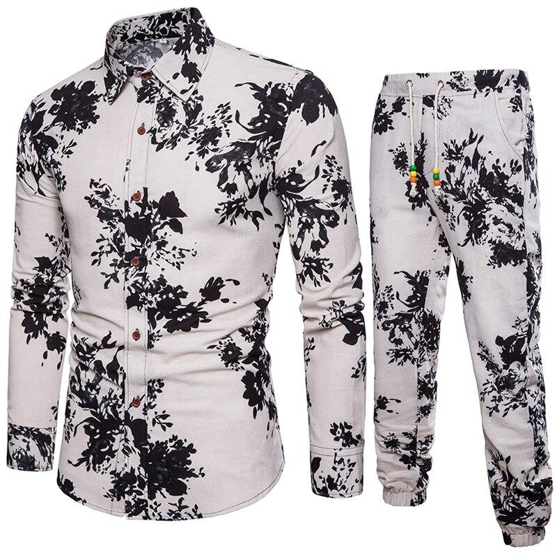 2020 verão floral impresso férias praia camisas dos homens definir topo + calças camisa casual ternos tamanho grande 5xl gótico masculino camisa pant conjuntos