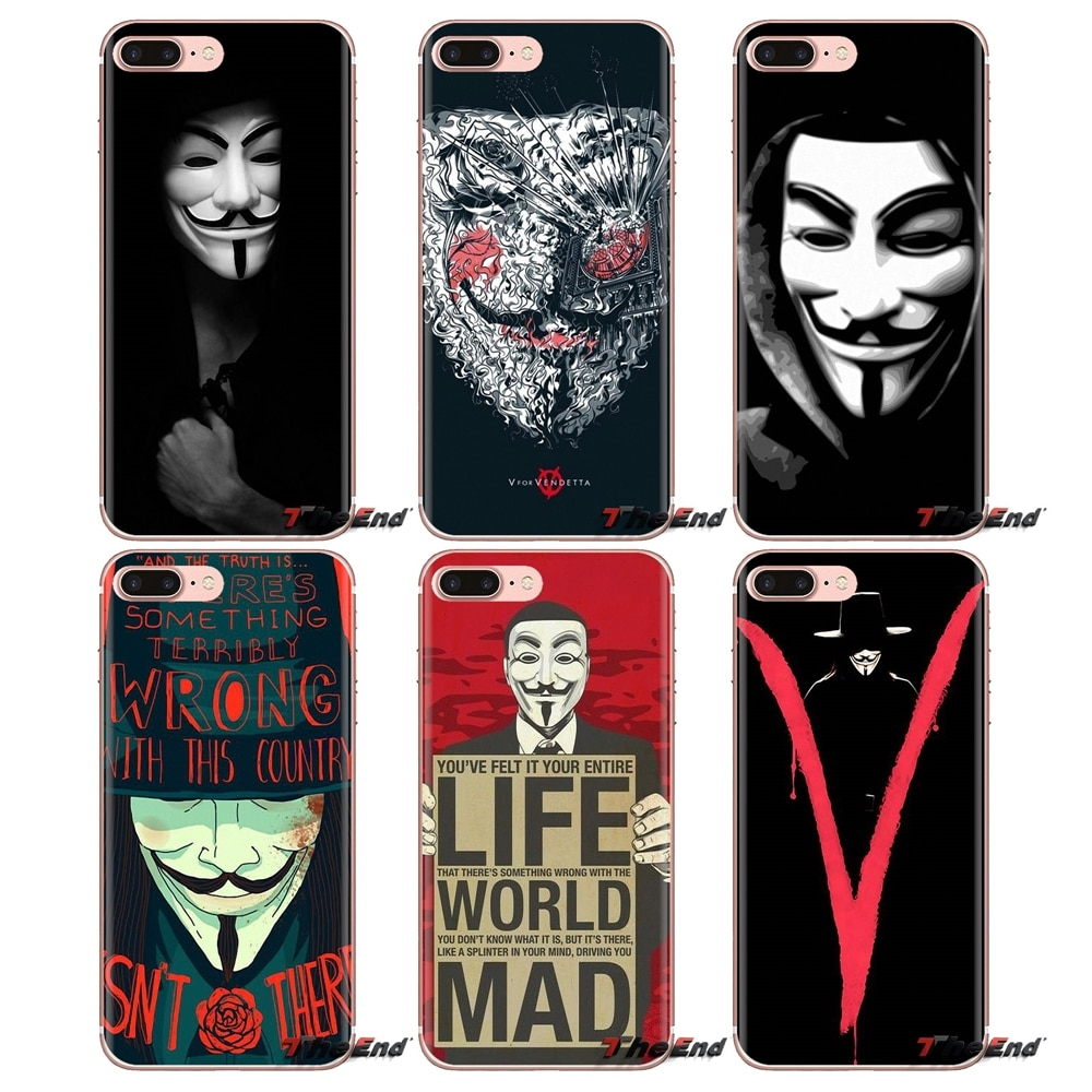Für iPhone XS Max XR X 4 4S 5 5 S 5C SE 6 6S 7 8 Plus samsung Galaxy J1 J3 J5 J7 A3 A5 Soft Cover Tasche Guy Fawkes Anonymous Maske V