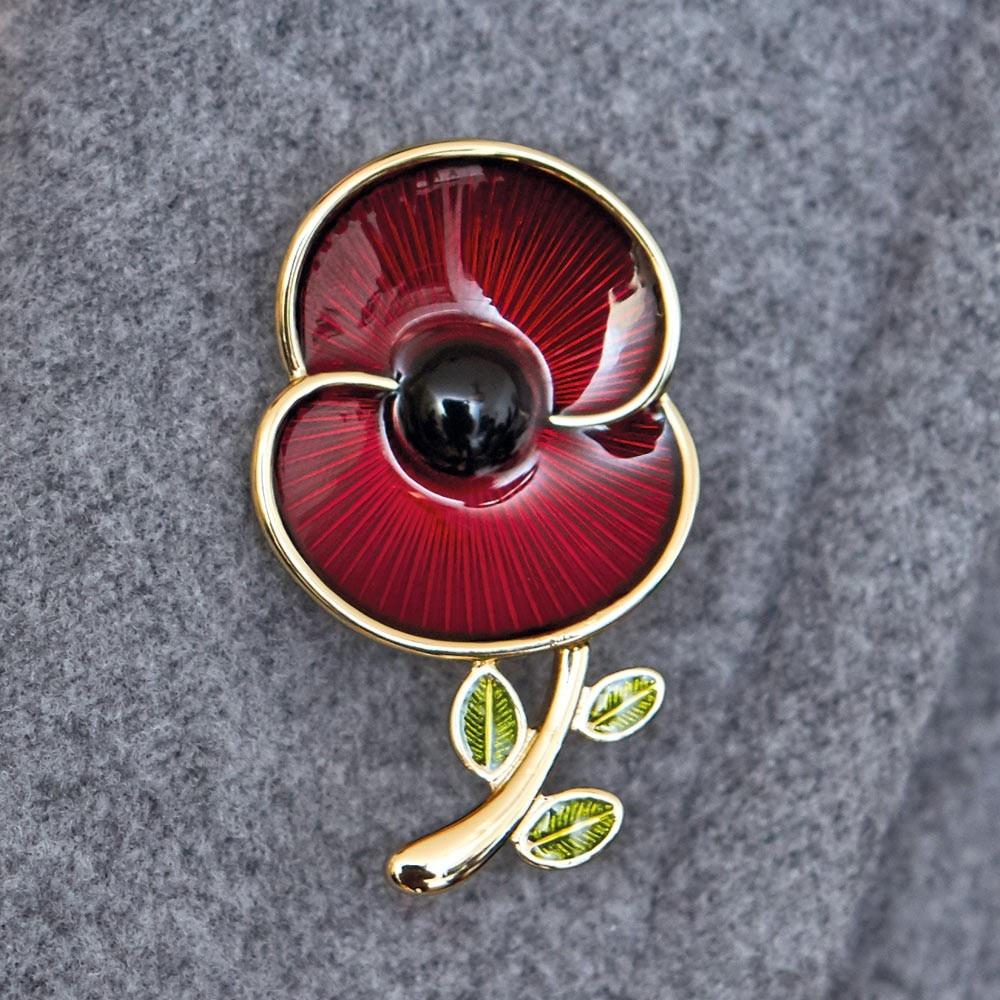 1,8 zoll Red Poppy Sammlung Emaille und Blatt Brosche Mohn Abzeichen Pins Sowohl Silber und Gold Erhältlich