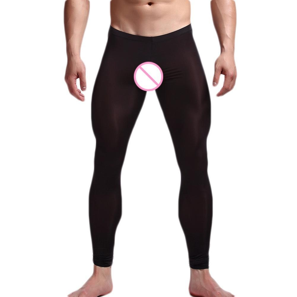Men Thin Solid Color Elastic Slim Fits Fitness Leggings Cropped Pants Trousers термобелье мужское