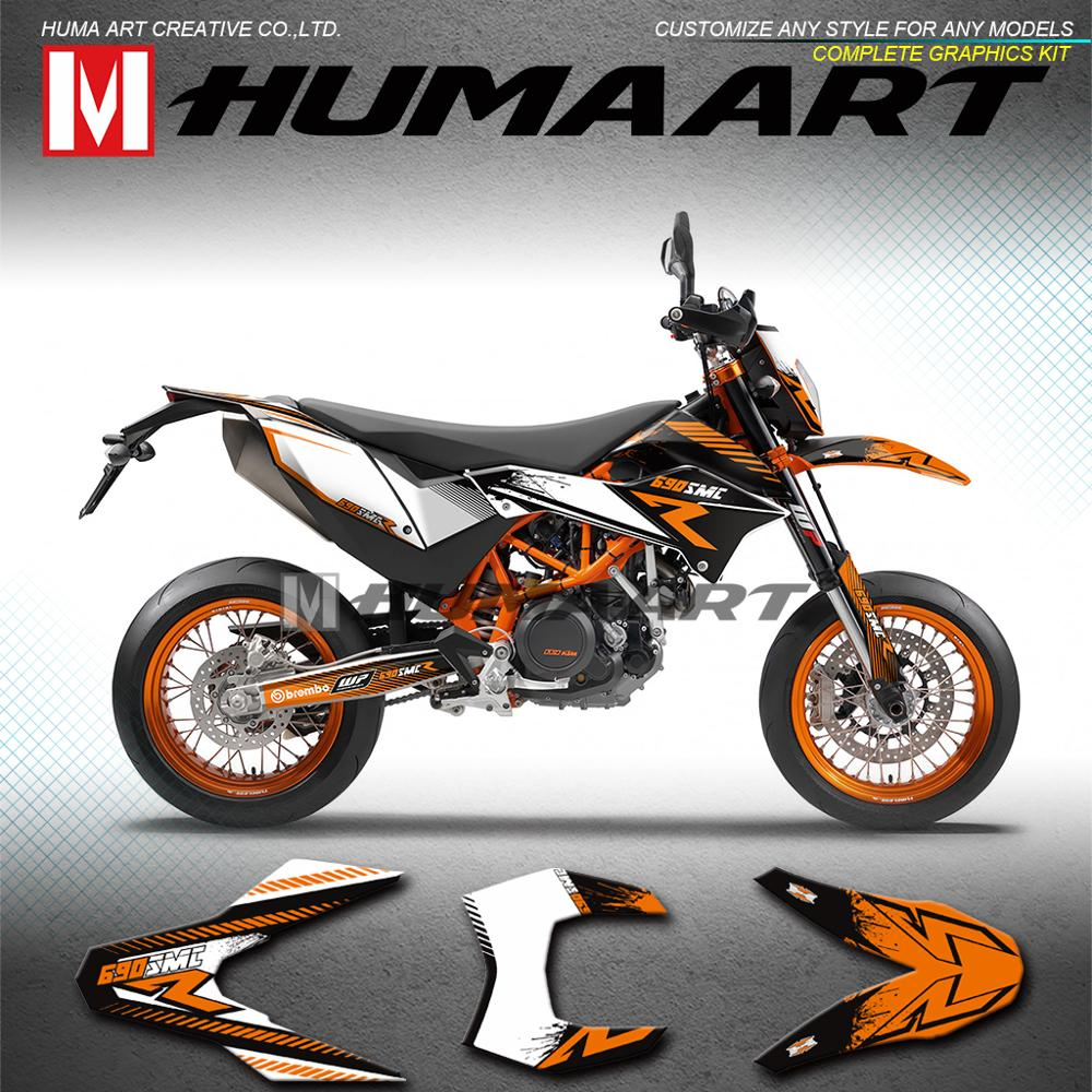 HUMAART Graphics diseño personalizado PVC pegatinas Kit para KTM 690 SMC-R SMC R Enduro 2012, 2013, 2014, 2015, 2016, 2017, 2018