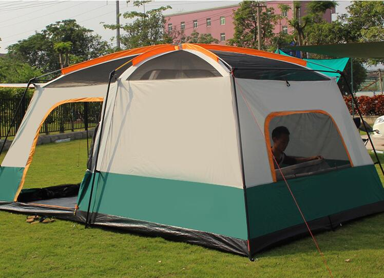 Outdoor two bedroom one living room rainproof tent camping for 6-8-10-12 people two bedrooms and one hall thickened group tent