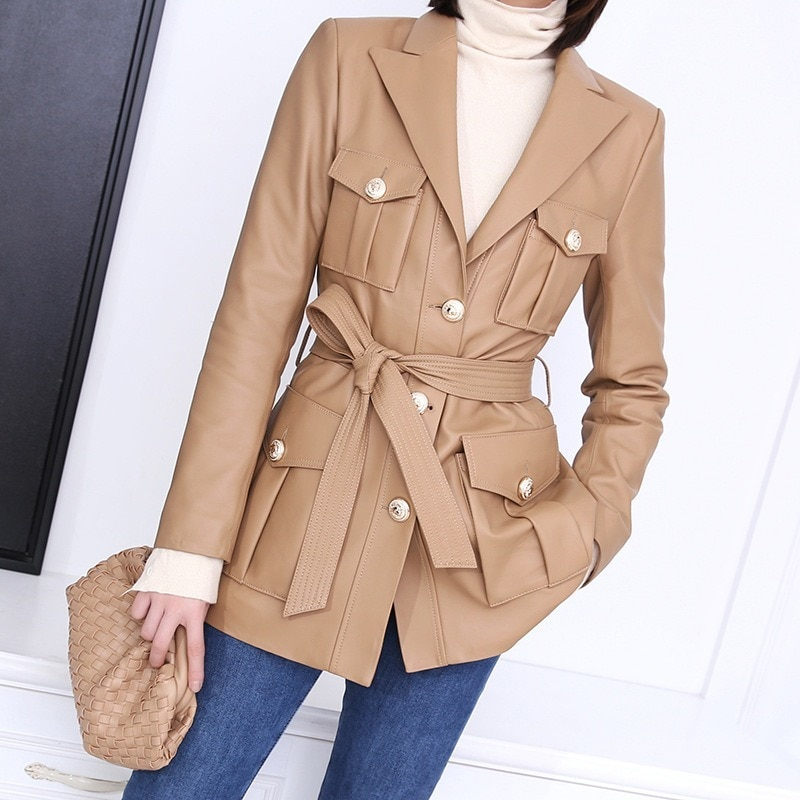 Autumn Spring Black Real Sheepskin Genuine Leather Suit Casual Jackets Womens Khaki Overcoat Korean Jacket Coats Suits Outerwear