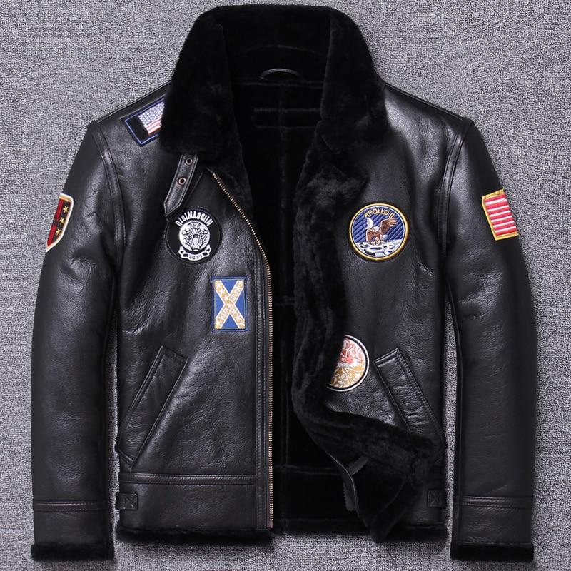 man and fur original ecology coat one b3 flight serve air force genuine clothing male leather jacket fashion