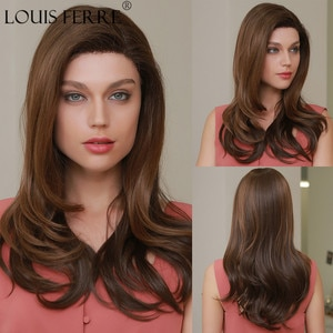 LOUIS FERRE Lace Front Synthetic Wig for Black Women Long Wave Brown Wigs Chocolate Natural Hairline Side Part Lace Fake Hair