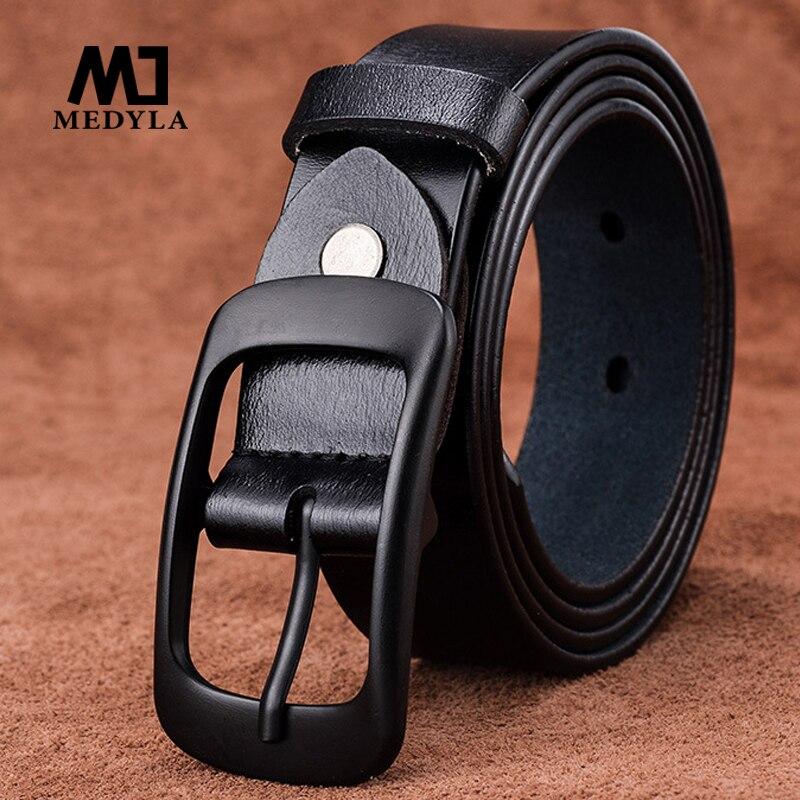 Cinturones de mujer medyla de piel auténtica de vaca, hebilla de pin de aleación negra de buena calidad, diseño de estilo moderno, marca original para mujer