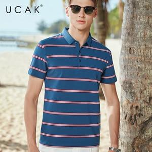 UCAK Brand Classic Turn-down Collar Striped T-Shirt Men Clothes Summer New Fashion Style Streetwear Casual Cotton Tee Tops U5589