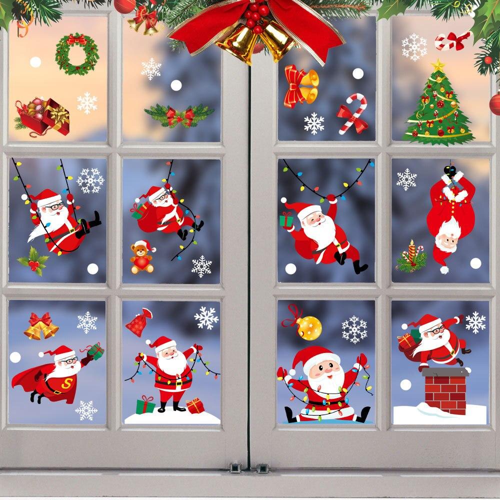 Christmas Decoration Tree Santa Snowman Snowflake Sticker Decor  Decorations Glass