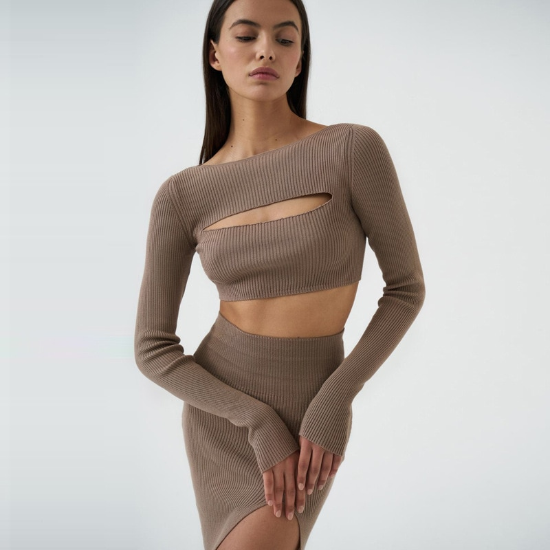 2021 new women's slim cut out long sleeve suit two piece sexy slit skirt Short Above Knee, Mini