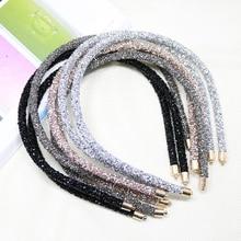 Shinny fascia per capelli fatta a mano con paillettes moda donna tinta unita fascia per capelli fascia per capelli Sport fascia per capelli accessori per capelli