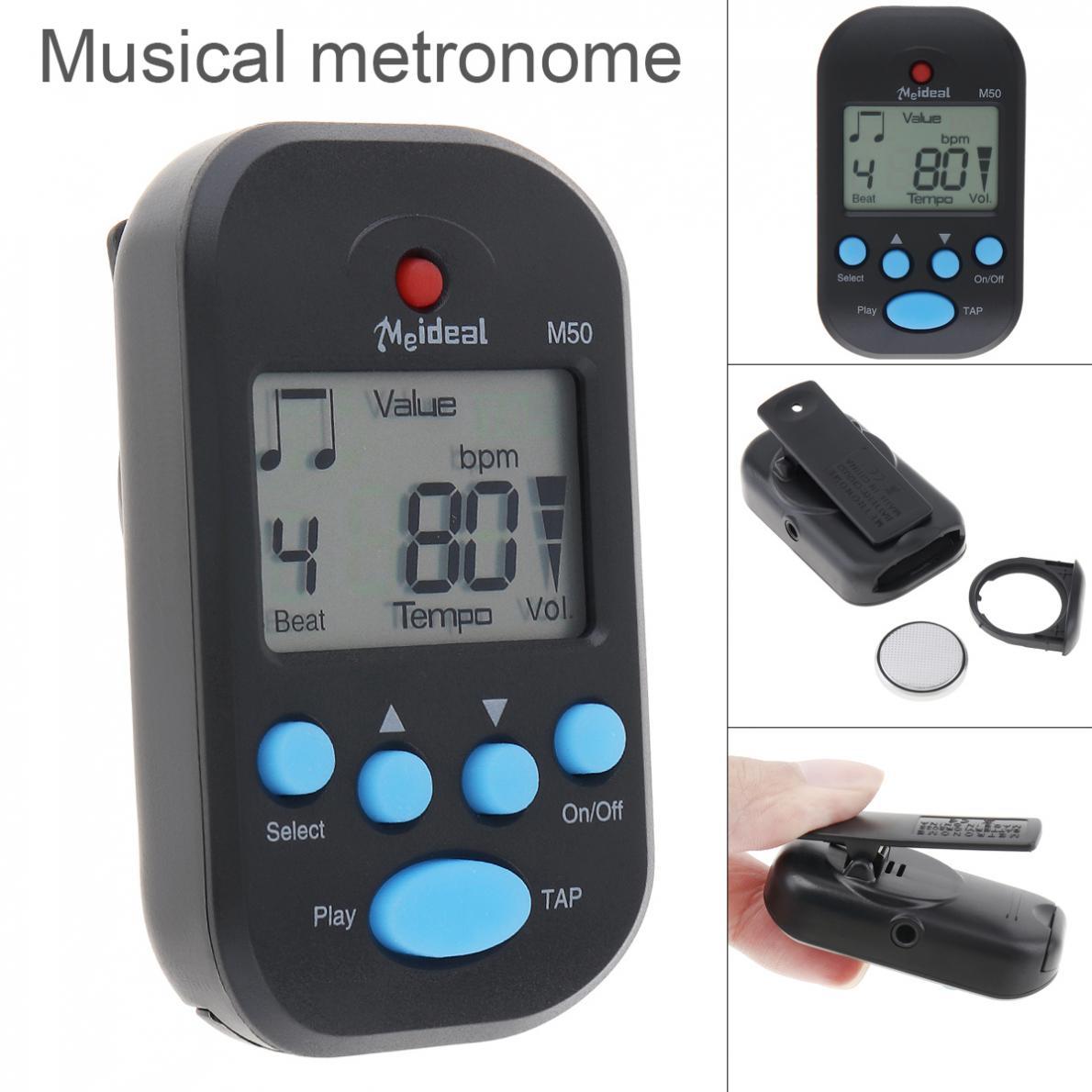 Meideal M50-metrónomo profesional con Clip para guitarra, modos de toque, pantalla LED...
