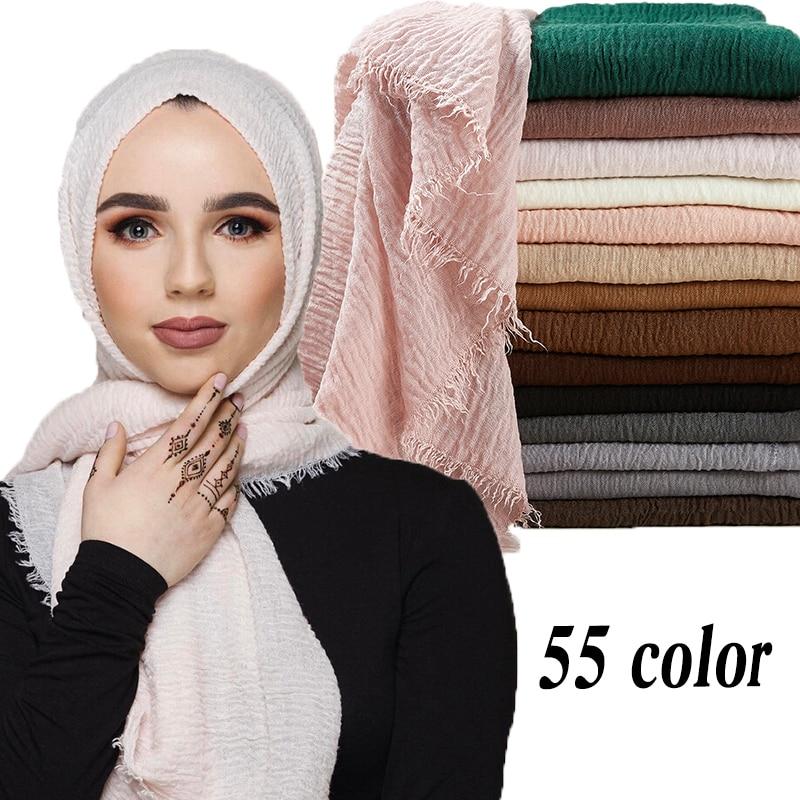 95*190cm women muslim crinkle hijab scarf femme musulman soft cotton headscarf islamic hijab shawls