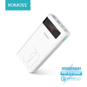 ROMOSS 30000mAh Пауэр банк PD Quick Charge Повербанк PD 3.0 Быстрая зарядка Портативное Внешние аккумуляторы для iPhone для Xiaomi Смартфоны