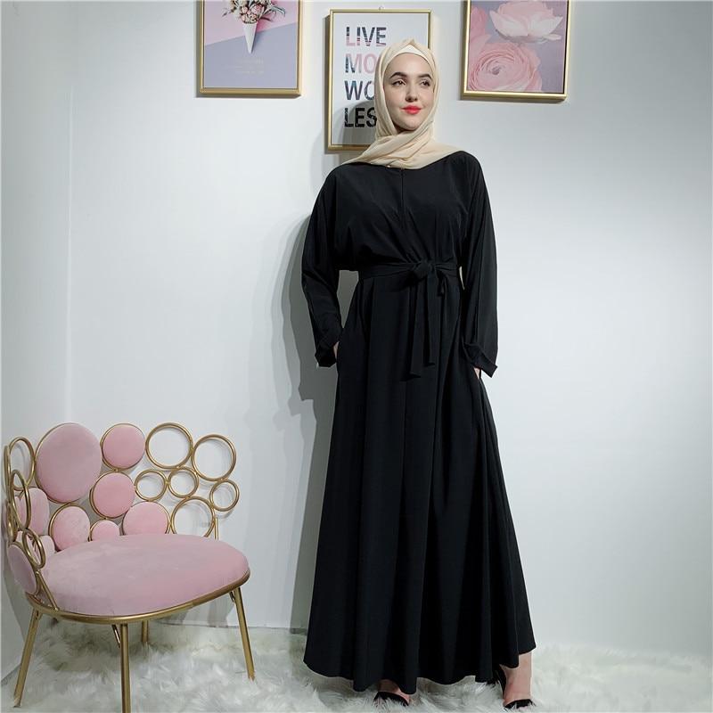 Mulheres muçulmanas abaya dubai islâmico kaftan jilbab caftan cinto longo maxi vestido turco cor sólida modesta festa robe ramadan vestido