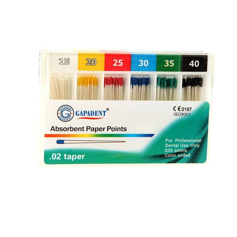 200Pcs/Pack Dental Absorbent Paper Points Root Cancel Endodontics Cotton Fiber Tips Dentist Product Mixed Sizes#15-40