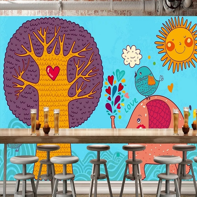 Novo personalizado grande mural 3d papel de parede bonito nordic elefante árvore sol quarto das crianças mural tv volta decoração profunda 5d em relevo