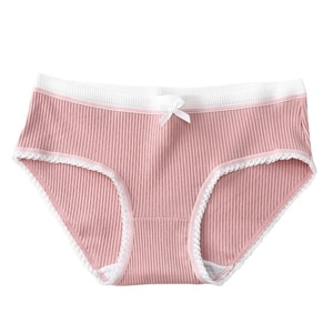 Women Comfortable Knit Briefs Cotton Panties Seamless Low-Rise Underwear Briefs Girls Cute Lace Bow Breathable Intimates Panty