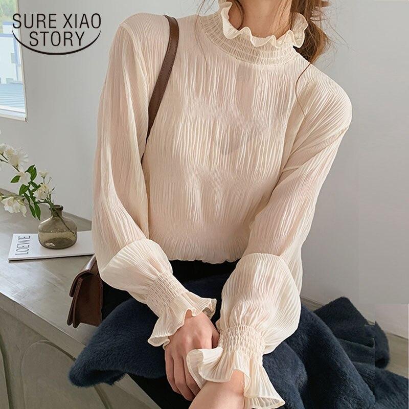 Printemps été nouveau haut pour femme Blouse à manches longues en vrac tout-match en mousseline de soie chemises à manches cloche chemise de Base Camisas Mujer 9542