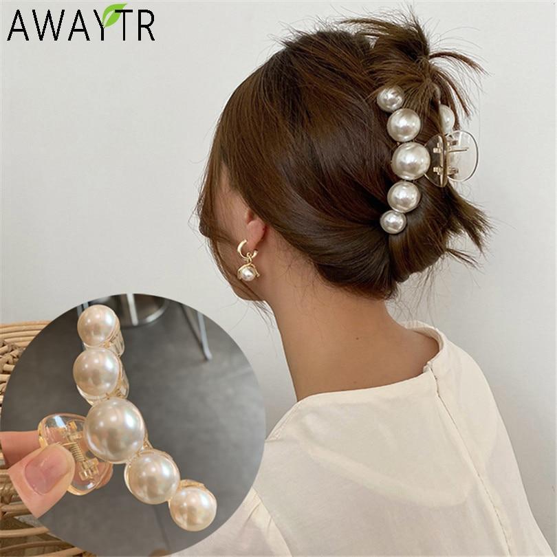 აკრილის თმის ბრჭყალების სამაგრები დიდი ზომის დიდი მარგალიტით, მაკიაჟისა და თმის სტილის ბარეტებისთვის ქალებისთვის, თმის აქსესუარები