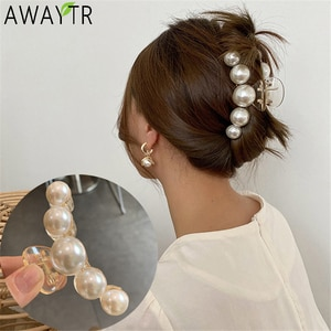 Женские акриловые заколки для волос AWATYR, большие жемчужины, большие размеры, аксессуары для волос для макияжа, 2020