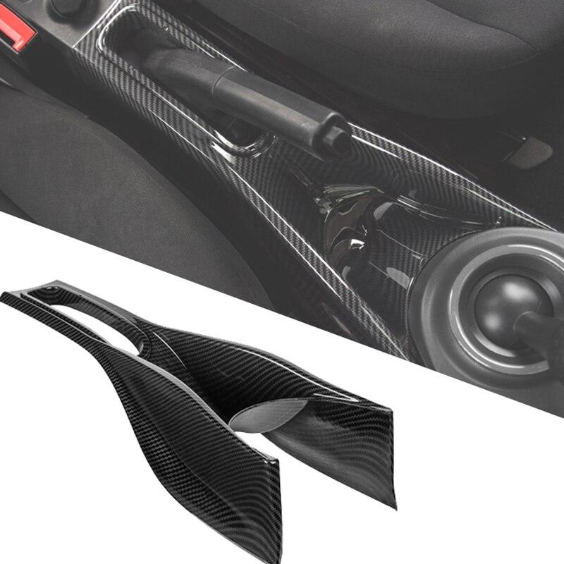 Caixa de armazenamento do deslocamento de engrenagem de fibra carbono para mercedes smart 453 forfour centro braço caixa estilo do carro acessórios