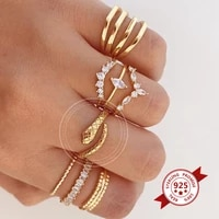plated 24k gold925 silver snake rings for women fashion personality stereoscopic opening adjustable ring jewelry