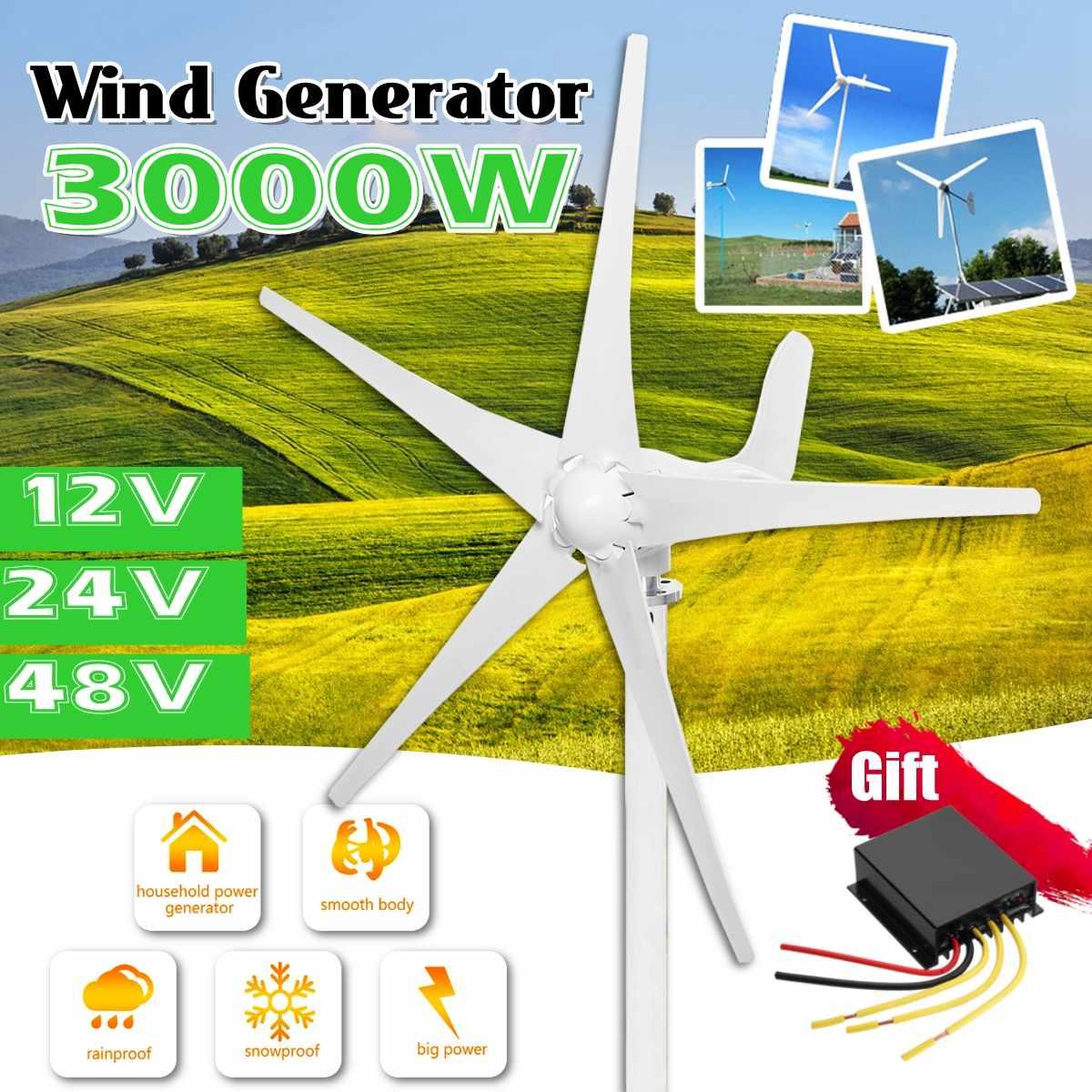 Generador de turbinas eólicas de 3000W, 12V/24V/48V, 5 cuchillas, con controlador de viento gratuito, uso para Alumbrado público Solar doméstico, barco