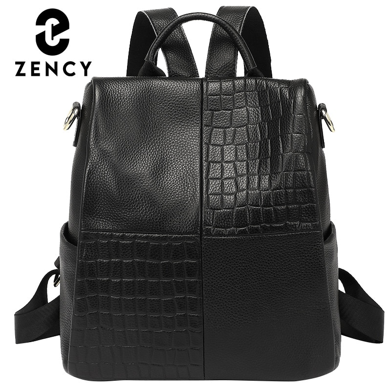 Zality المرأة مكافحة سرقة حقيبة الظهر مقاوم للماء كبير الإناث حقيبة كتف جلد طبيعي موضة حقيبة مدرسية السفر حقيبة كروسبودي