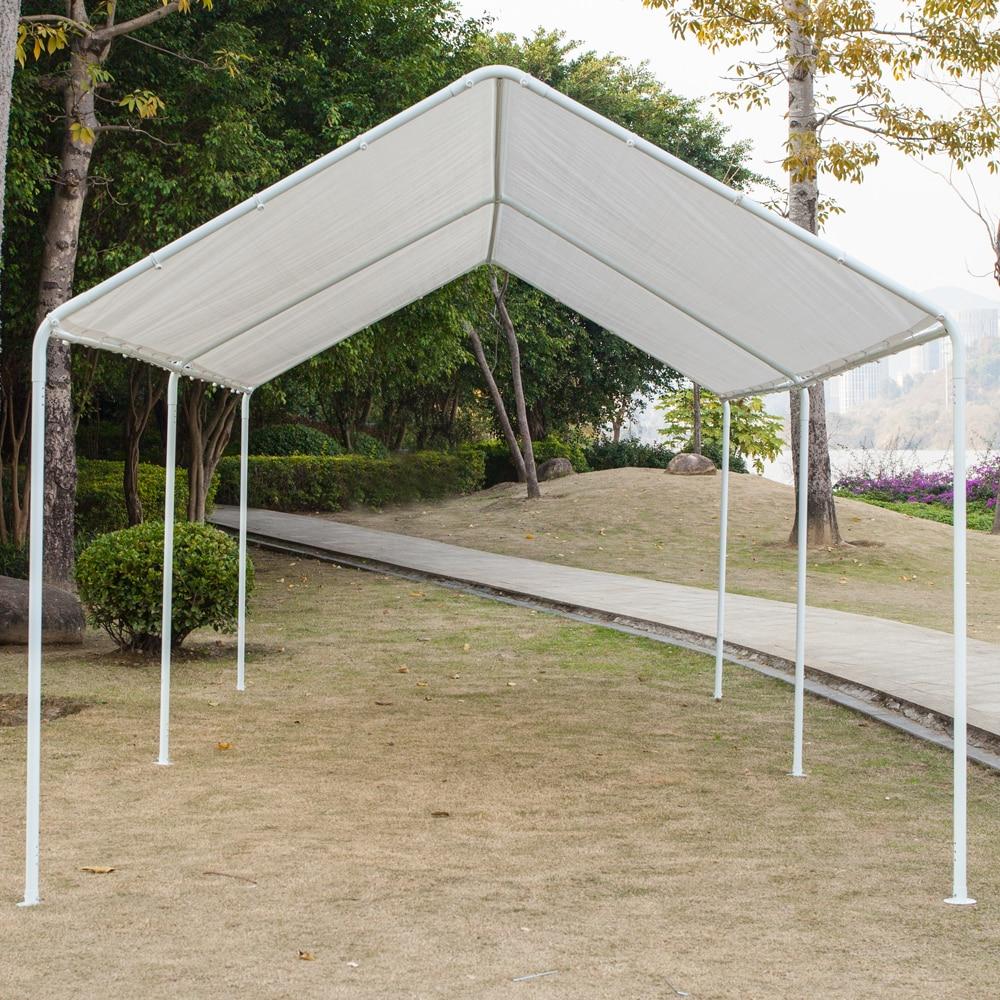 مظلة سيارة 3x6 ، مأوى متعدد الاستخدامات ، سقيفة مع أنابيب 6 أقدام ، مستودع أمريكي أبيض
