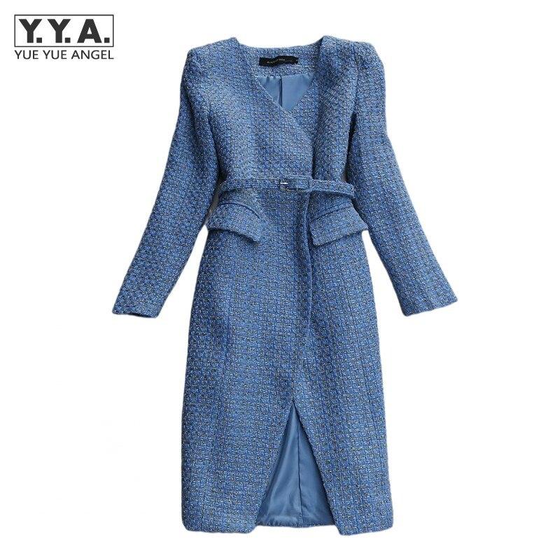 معطف نسائي طويل للخريف والشتاء بحزام مناسب للمكتب والسيدات معطف مصمم على الموضة معاطف واقية من الرياح Casaco Feminino