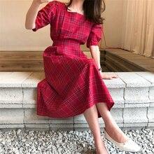 2020 nouveau été femmes robe col carré Plaid Vintage plissé taille haute décontractée à lacets Bow manches bouffantes rouge longues robes