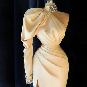 2022 Champagne Evening Dresses Cryatals Beads High Neck One Shoulder Long Sleeves Side Split Mermaid Prom Dress robe de soirée