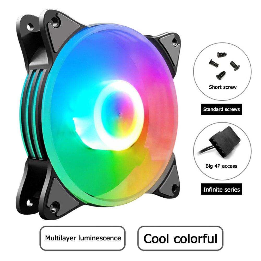 COOLMOON 120mm 5 Farben gemischt Led-beleuchtung Kühlkörper Kühler Große 4Pin Stille Kühlung Fan mit 8 Silikon Dämpfung Pads für PC