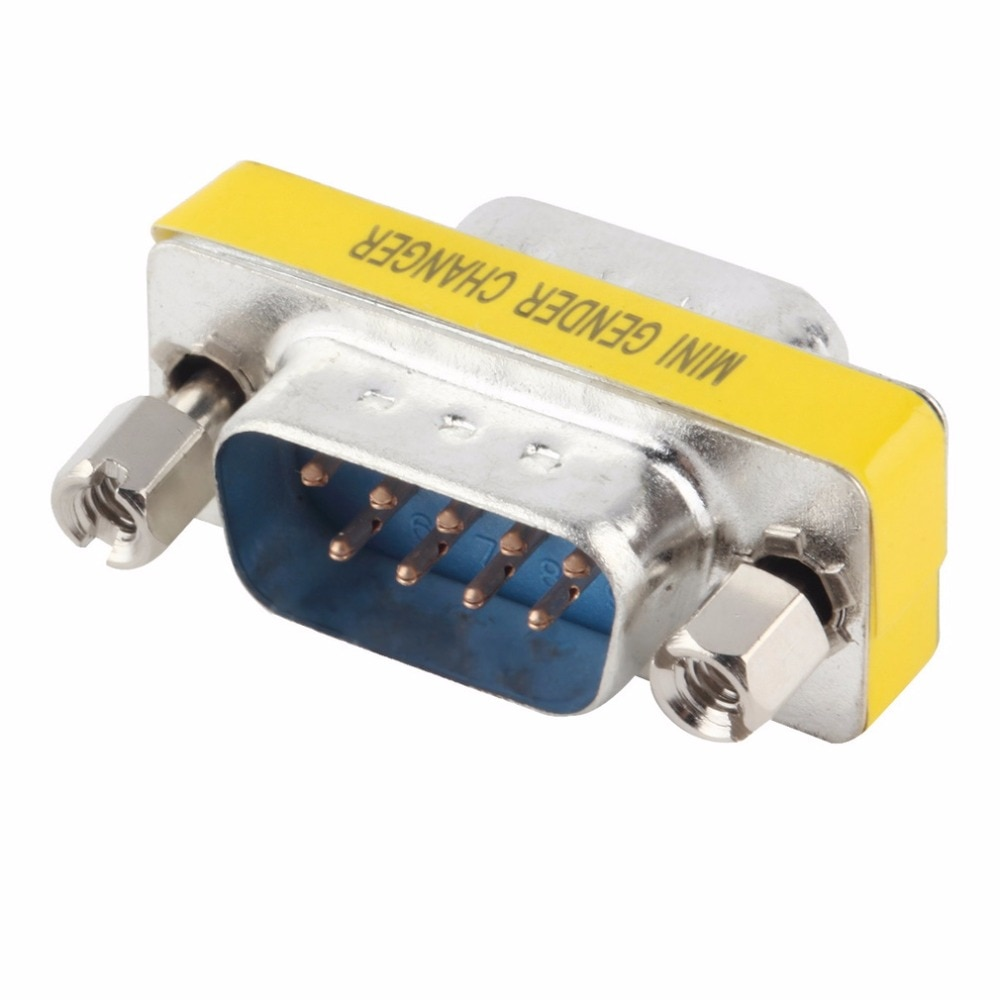 9 pinos RS-232 db9 macho para macho serial cable adaptador de acoplador de cambiador de gênero atacado em estoque!!