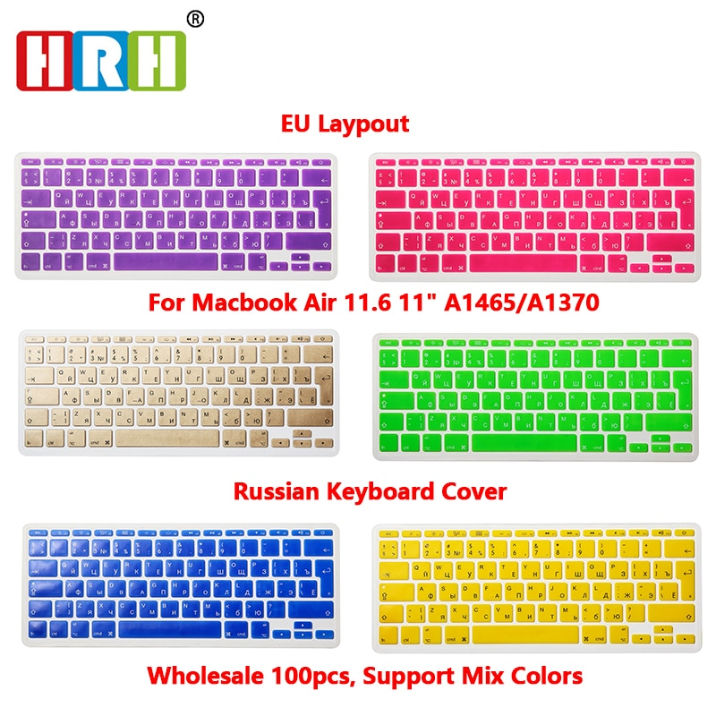 HRH 100pcs/Lot EU UK Russian Letter Alphabet Soft Silicone Keyboard Protector Flim Cover Skin For MacBook Air 11.6 Inch 11