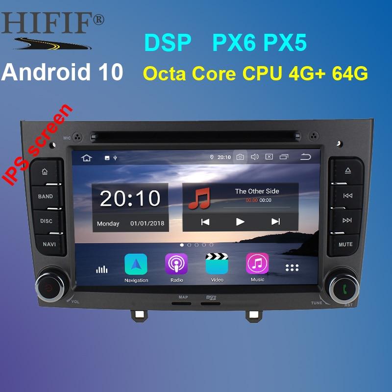 PX6 7 pulgadas 1024*600 Octa Core Android 10 4G RAM 64GROM Multimedia reproductor de dvd de coche para Peugeot 308 Peugeot 408 con wifi radio GPS BT RDS