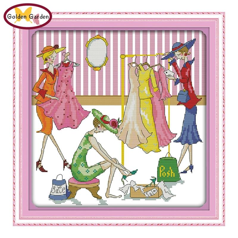 GG Happy Shopping, punto de cruz contado o estampado 11CT14CT DIY, Kits bordados de costura, conjuntos de punto de cruz de dibujos animados para niños