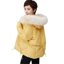 Fur Collar Hooded Women Short Jacket Winter Thick Cotton Padded Coats Solid Plus Size Big Pocket Out