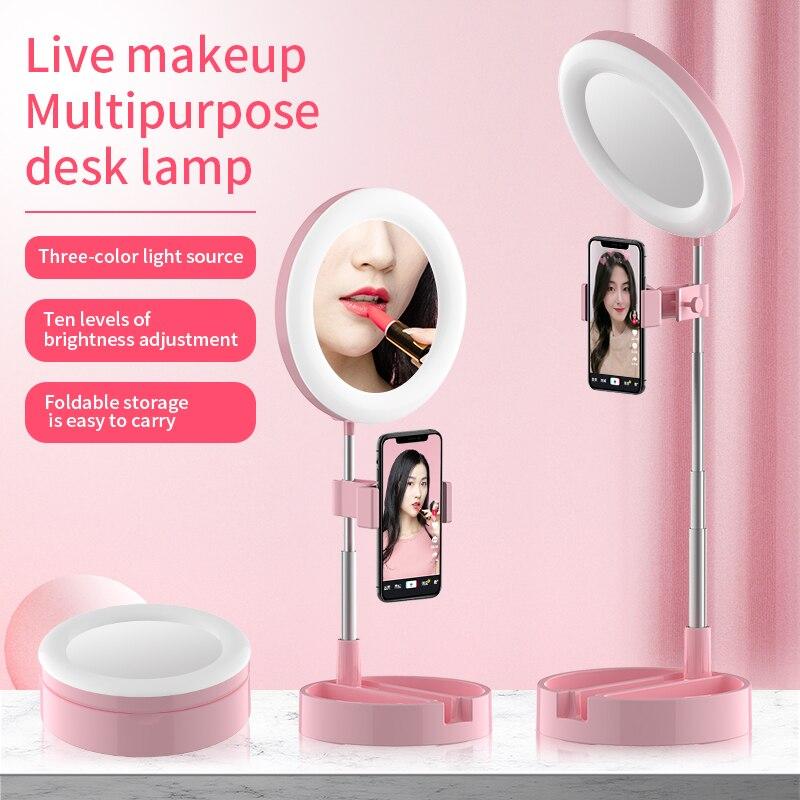Pliable LED Selfie anneau lumière bureau téléphone vidéo photographie anneau lampe remplir lumière 64 lampe à LED perles Max travail 58cm pour les téléphones
