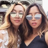 higodoy vintage metal cat eye sunglasses women reflective pink goggle sun glasses eyewear pilot oversized sunglass men 2019