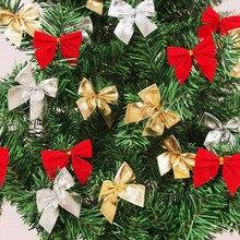 Kokardka bożonarodzeniowa czerwone złoto srebro ozdoba świąteczna Bowknots ozdoba bożonarodzeniowa choinka Décoration Noel nowy rok 2021 рождество