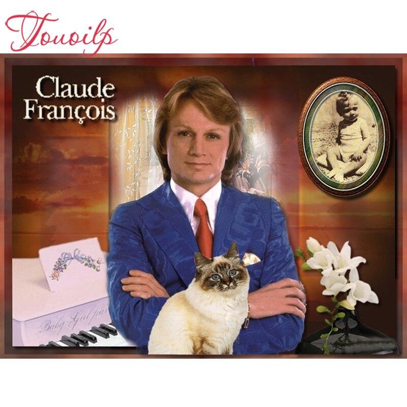 TOUOILP-5D peinture carrée et ronde en diamant   Bricolage, claude francois Christ, broderie en diamant 3D, cadeaux religieux pour amour maternel et enfant