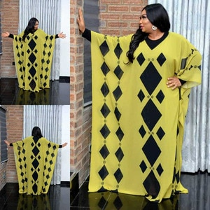 2 Pieces Set African Dresses For Women Dashiki Design Chiffon Fabric Printing Robe + Inside Long Dress Plus Size African Clothes