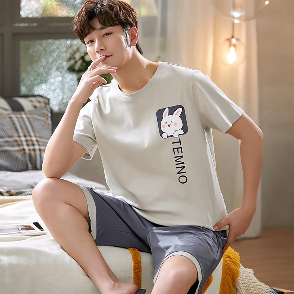 Лето весна пижамы для мужчин повседневный хлопок пижама комплекты мода письмо принт шорты одежда для сна плед шорты стрейч пижамы