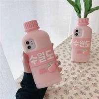 cute pink peach water drink bottle phone case for iphone 13 12 mini 11 pro max se 7 8 plus x xr xs max soft silicone back cover