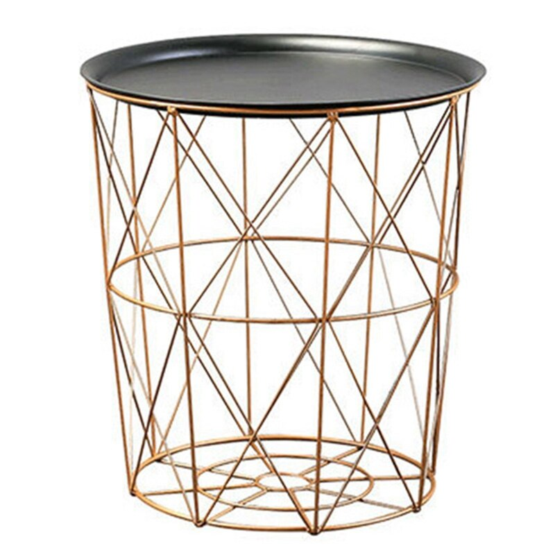 ABSF Modern Gold Round Wire Metal Storage Basket Side Table